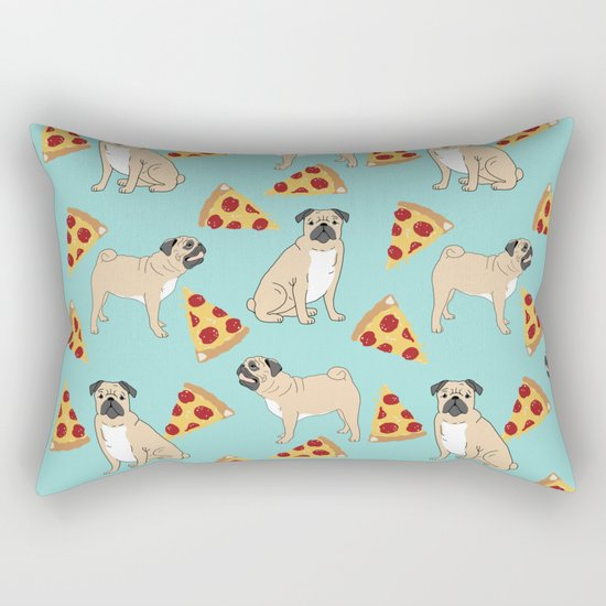 Pug Pizza Party cute pug dog owner gifts food pet gifts puggle puppy dog pet portrait trendy  Rectangular Pillow