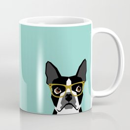 Darby - Boston Terrier pet design with hipster glasses in bold and modern colors for pet lovers Coffee Mug