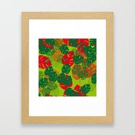 monstera green red Framed Art Print