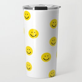 Smiley faces white yellow happy simple smiley pattern smile face kids nursery boys girls decor Travel Mug