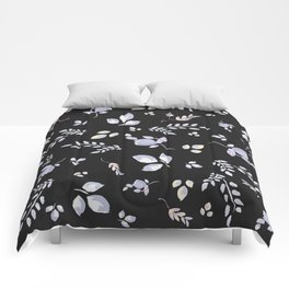 Spring watercolor leaves & tulips on charcoal background Comforters