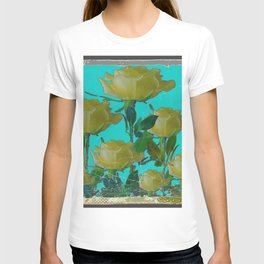 SHABBY CHIC TURQUOISE ANTIQUE IVORY YELLOW ROSE GARDEN T-shirt