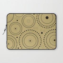 Circles in Circles Design Black on Light Gold Laptop Sleeve