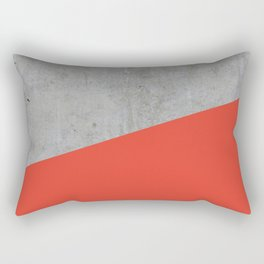 Concrete and Cherry Tomato Color Rectangular Pillow