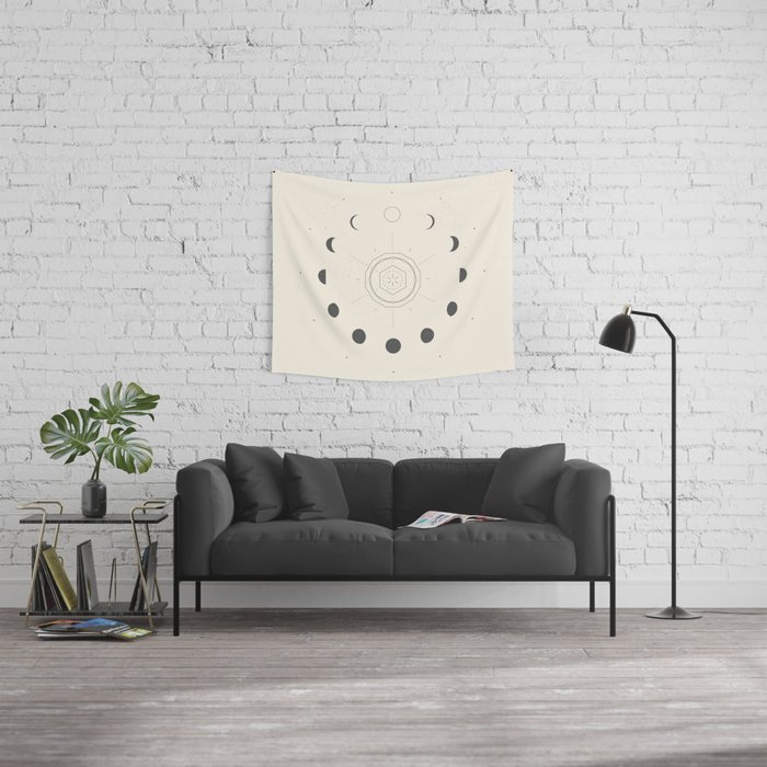 Moon Phases Light Wall Tapestry