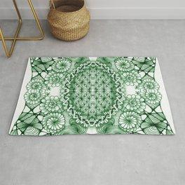Jade Zentangle Tile Doodle Design Rug