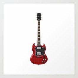 Red Electric Guitar Art Print