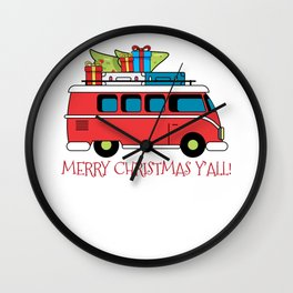Merry Christmas Y'All For Holiday Christmas Greeting Wall Clock