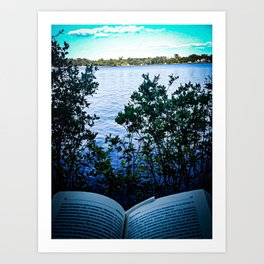 Reading Books by the Lake Art Print