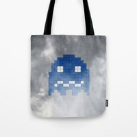pac man Tote Bags featuring Pac-Man Blue Ghost by Psocy Shop