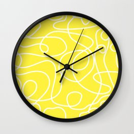 Doodle Line Art | White Lines on Bright Yellow Wall Clock