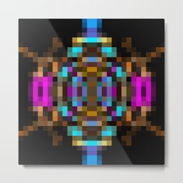 geometric square pixel abstract in blue orange pink with black background Metal Print