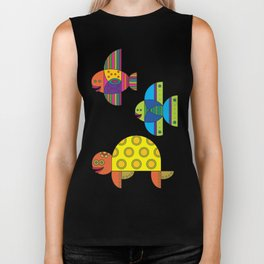 Stylize fantasy fishes and turtle under water. Biker Tank