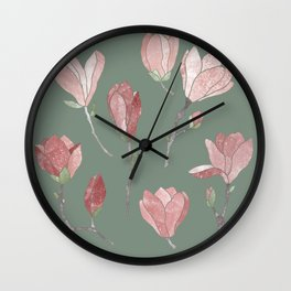 Magnolia flowers on green Wall Clock