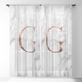 Monogram rose gold marble G Sheer Curtain