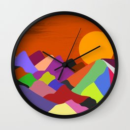 Colourful Mountains and Sunset Wall Clock