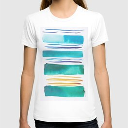 14   |181026 Lines & Color Block | Watercolor Abstract | Modern Watercolor Art T-shirt