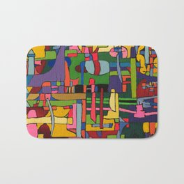 Colors in Collision 3 - Geometric Abstract of Colors that Clash Bath Mat