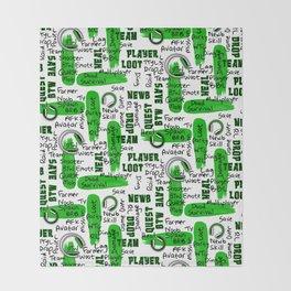 Gamer Lingo-White and Green Throw Blanket