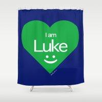 luke hemmings Shower Curtains featuring Luke by ♥ Charlie