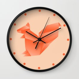 Allergic to Nuts - Origami Orange Squirrel Wall Clock