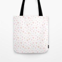 Blush pink white handdrawn watercolor romantic hearts pattern Tote Bag