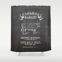 butcher billy Shower Curtains featuring Farmer's market butcher cow by sparkle and glam designs