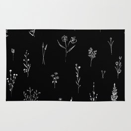 Black wildflowes Big Rug