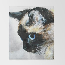 Siamese Cat Acrylic Painting Throw Blanket