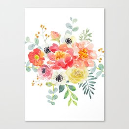 Watercolor bouquets with pink flowers Canvas Print