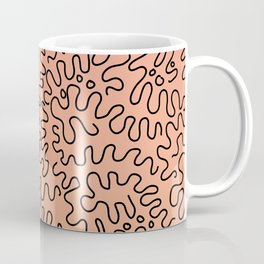 Squiggly Abstract lines on Pink gradient Coffee Mug