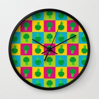 popart Wall Clocks featuring Popart Broccoli by XOOXOO