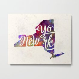 New York US State in watercolor text cut out Metal Print