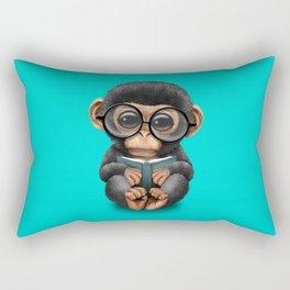 Cute Blue Baby Chimp Reading a Book Rectangular Pillow
