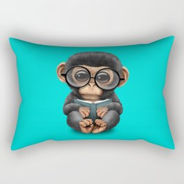 Cute Blue Baby Chimp Reading a Book Rectangular Pillow