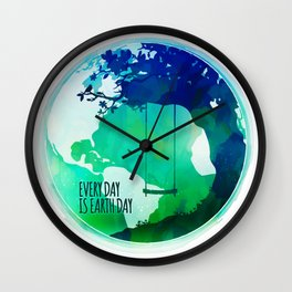 Every Day Is Earth Day - 03 Watercolor Wall Clock