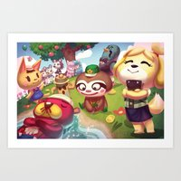 animal crossing Art Prints featuring Animal Crossing by Attyca