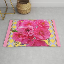 AWESOME PINK ROSES YELLOW-GREY LATTICE  DESIGN Rug