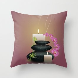 Pebbles with orchid Throw Pillow