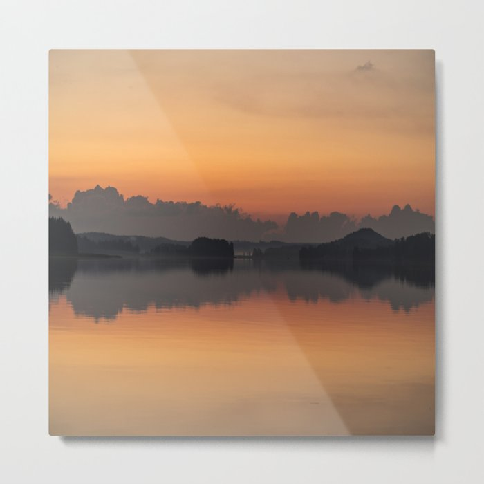 Sunset colors and reflection on the lake surface - magical atmosphere in Scandinavian night Metal Print