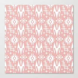 Mid Century Modern Atomic Space Age Pattern Dusty Rose Canvas Print