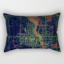 Park Rapids old map year 1969, united states old maps, colorful art Rectangular Pillow