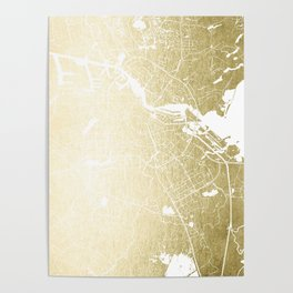 Amsterdam Gold on White Street Map Poster