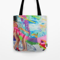 boob Tote Bags featuring The Boob Tube by Ashley Bell