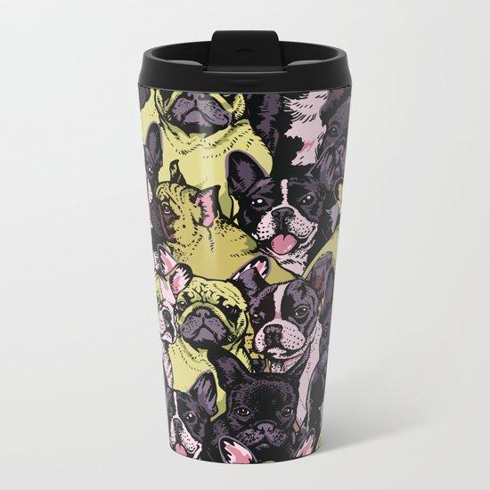 Social French Bulldog Metal Travel Mug