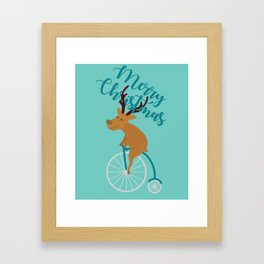 Mr Reindeer having Fun with his Penny-farthing Bicycle Framed Art Print