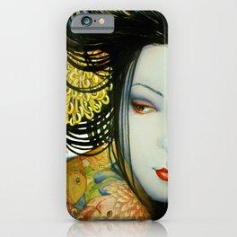 Little fish tattooed geisha girl iPhone Case