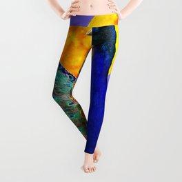 BLUE PEACOCK  FULL MOON ART ABSTRACT Leggings