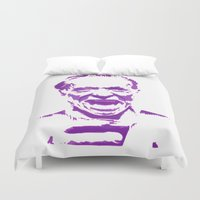 bukowski Duvet Covers featuring Charles Bukowski Stencil Purple by All Surfaces Design