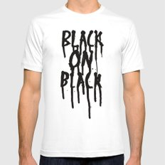 Black on black MEDIUM White Mens Fitted Tee